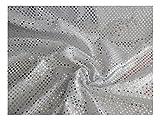 Fabrics-City SILBER/WEIß EXKLUSIVE KLEINE PAILLETTEN STOFF 3MM STOFFE, 2594