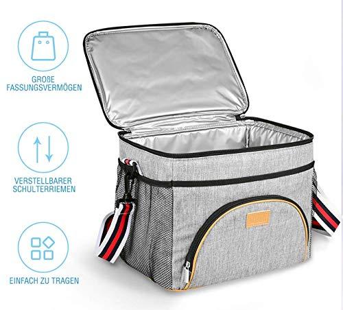 Kühltasche -TOMOUNT Lunchbox Tasche Lunch Bag Kühltasche Faltbare Grau Picknicktasche Groß Lunchtasche Tasche Thermotasche Lunch Tasche Isoliertasche für Büro/Schule/Picknick,15L