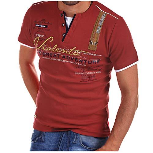 Realde Herren Langarm Hemd und KurzarmT-Shirt Cool Briefdruck Mehrfache Farben V-Ausschnitt Langarmshirt Passt super auch zur Jeans Männer BequemTops Oberteil Größe S-XXXL - Herren Punkt-kragen-hemd