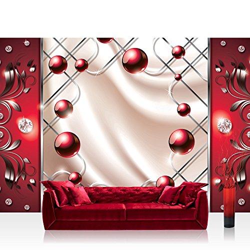 Fototapete 368x254 cm PREMIUM Wand Foto Tapete Wand Bild Papiertapete - 3D Tapete Abstrakt Ornamente Perlen Diamant Gitter Welle rot - no. 741 -
