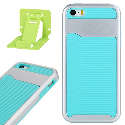 Per iphone 5 5S SE Custodia, Ekakashop di lusso Hybrid Heavy Duty antiurto morbido silicone Gel & Rigida PC 2-in-1 non Layer antiscivolo Anti-dirt Protezione Protettivo Cover Case per Apple iphone 5 5 Verde