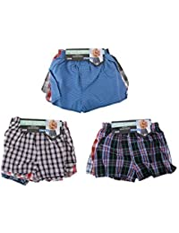 3pairs Mens Pattern Design Check Woven Cotton Boxer Shorts Underwear Briefs Pants Size S-5XL