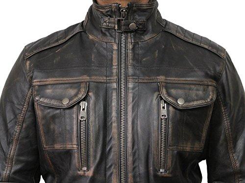 Vintage schwarze Herren Bikerjacke aus Leder (X-Large) - 3