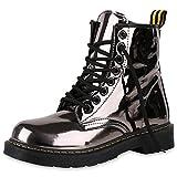napoli-fashion Damen Stiefeletten Worker Boots Metallic Schnürstiefel Outdoor Schuhe Grau Metallic 37 Jennika