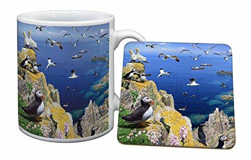 Advanta - Mug Coaster Set Papageientaucher und Sea Bird Montage Becher und Untersetzer Tier Weihnachtsgesc Mug Coaster Set