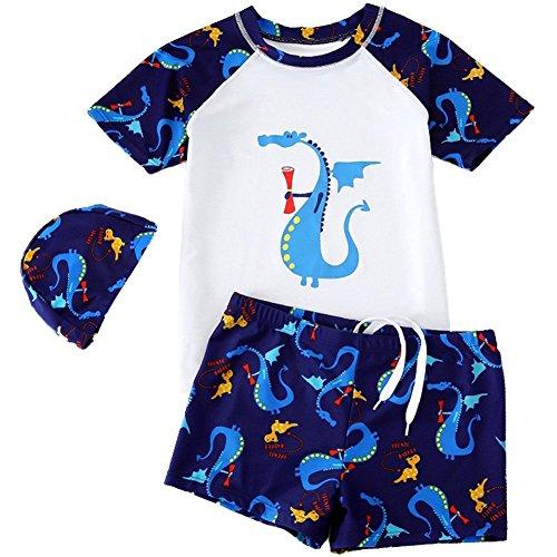 KleinKinder Jungen Bademode Badeanzug Schwimmbekleidung Uv-Schutz Dinosaurier Bade-Set Kurz Tops+Badehose mit Hut (Weiß, 3-4 Jahre)