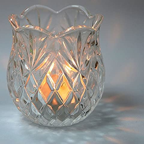 Pack of 4 Colony® Candle Holders Elegant Tea Light Crystal Glass Design Candle Holder Wedding Party Night Dinner Table Centrepiece Home