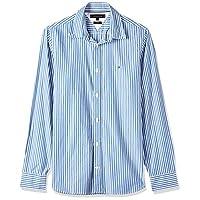 قميص مخطط هايبر كلاسيك للرجال من تومي هيلفجر، قصة نحيفة، ازرق، مقاس M
