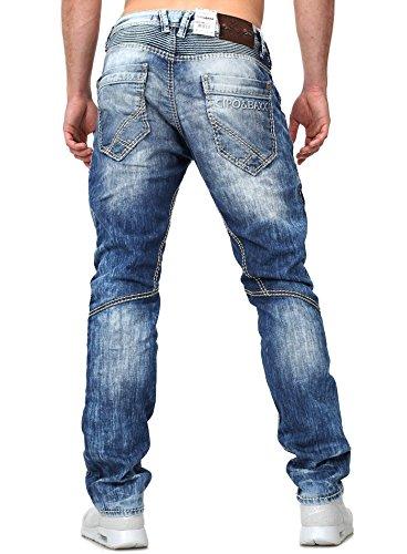 Cipo Baxx Homme D'occasion Jeans Coupe droite Boutons fermeture à bouton Millésime Regardez Insipide Été krasse Coutures décoratives zusätzliche Sacs Bleu