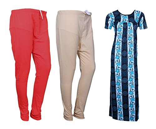 IndiStar Women Premium Nighty and Legging Combo Pack(Pack of 1 Nighty/Maxi and 2 Cotton Ruby Cut Legging)_Multicolor_Size-X-Large_710858773210-01-IW-P3-XL