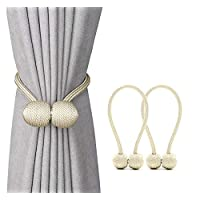 Jacalee Magnetic Curtain Tiebacks Decorative Rope Hold-backs Holder 1 Pair Beige 16 Inches