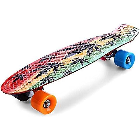 XIE@ Nuovi arrivi stampa Maple Leaf Skateboard completo 22 pollici Retro Cruiser lungo bordo Skatecycle per bambino