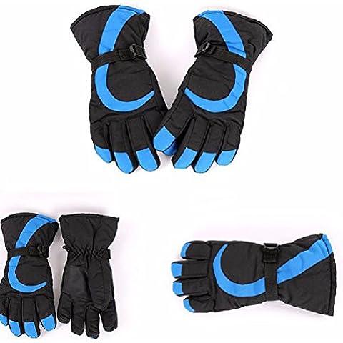 ZHGI Guantes de invierno cálido hombres y mujeres la versión coreana de felpa y exterior impermeable acolchado paraviento Ciclismo Ciclismo guantes de invierno,azul