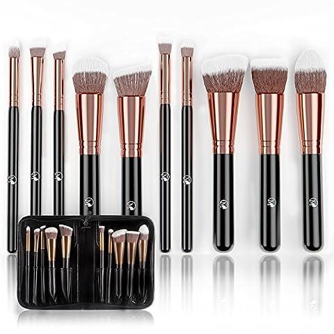 Magnifeko Professional Makeup Brushes Set (10-Piece Kit) Face, Eyeshadow, Blending, Contouring, Foundation | Synthetic Bristles | Round, Tapered, Kabuki and