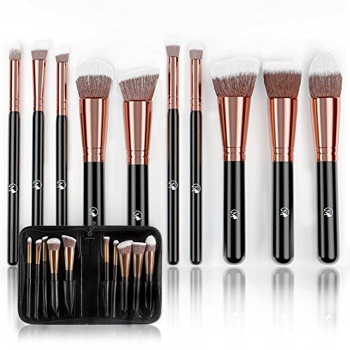 Magnifeko Professional Makeup Brushes Set (10-Piece Kit) Face, Eyeshadow, Blending, Contouring, Foundation | Synthetic Bristles | Round, Tapered, Kabuki and Angled