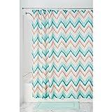InterDesign Ikat Chevron Textil Duschvorhang | 183 cm x 183 cm Duschabtrennung für Badewanne und Dusche | bunter Vorhang aus Stoff mit Zickzack-Muster | Polyester koralle/türkis