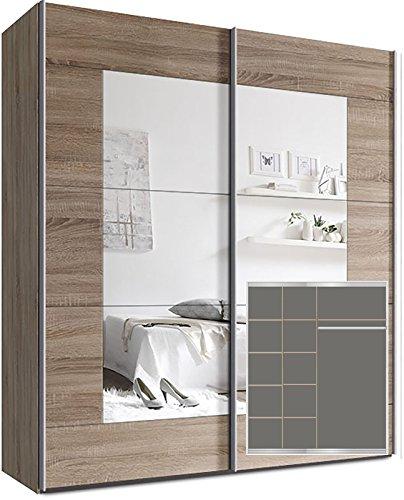 Kleiderschrank-Schwebetrenschrank-ca-180cm-inkl-9-Einlegebden-Sonoma-Eiche-Spiegel