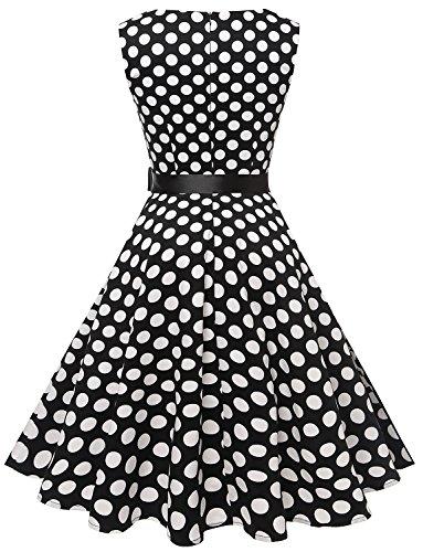 Gardenwed Damen Vintage 1950er PartyKleid Rockabilly Ärmellos Retro CocktailKleid Black White Dot