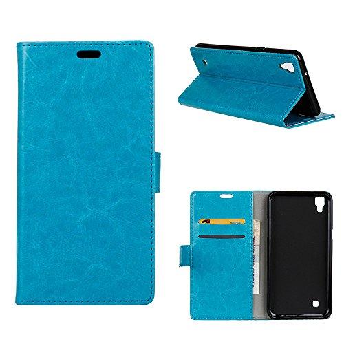 MOONCASE LG X Style Hülle, Ledertasche Brieftasche mit Standfunktion und Karte Halter Tasche Magnetisch Leder Schutzhülle für LG Tribute HD / X Style Blau