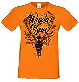 Herren Trachten T-Shirt Wuida Bua extra Cooles Motiv für Männer zum Oktoberfest oder Volksfest Farbe: orange Gr: 4XL