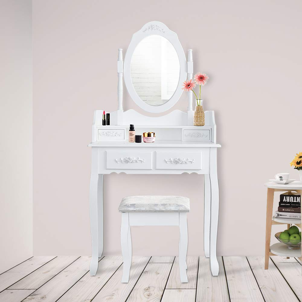 hengda coiffeuse table blanche table de maquillage maquillage 1 miroir and 4 tiroirs. Black Bedroom Furniture Sets. Home Design Ideas