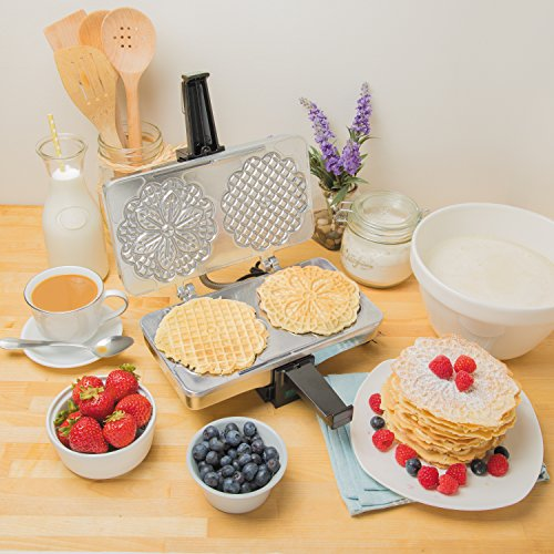 Polished Cucinapro Pizzelle Maker 220–05P–Makes Two 5Cookies at the same time