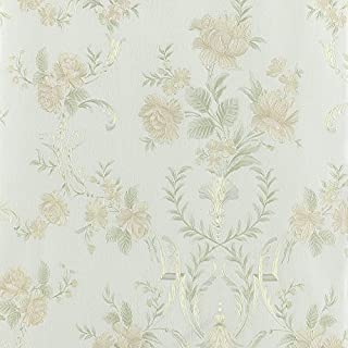 Wopeite Flower Blossom Gold Wallpaper Embossed Leaf Textured Paper Non-Woven Floral Pattern Love Home Decor for Living Room Bedroom TV Backdrop