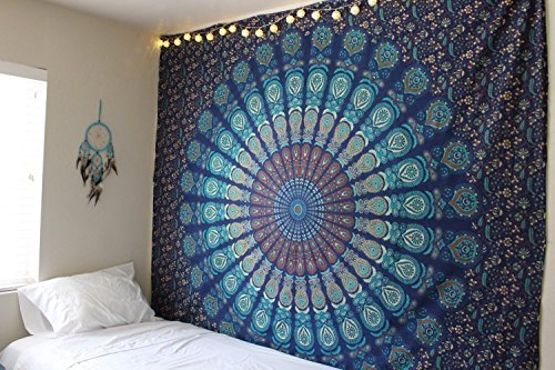 Blue Floral Tapestry (Popular Hippie Mandala Bohemian Psychedelic Intricate Floral Design Indian Bedspread Magical Thinking Tapestry 84x54 Inches,(215x140cms) Blue Turquish By Popular Handicrafts by Popular Handicrafts)