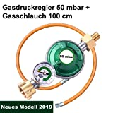 CAGO Gasregler 50 mbar mit Manometer Füllstandsanzeige Schlauchbruchsicherung Propangas Druckminderer Druckregler Camping Propan Butan Gas-Schlauch 100cm