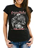 Neverless Damen T-Shirt King of The Road Motorrad Biker Skelett Rockabilly Slim Fit Schwarz S