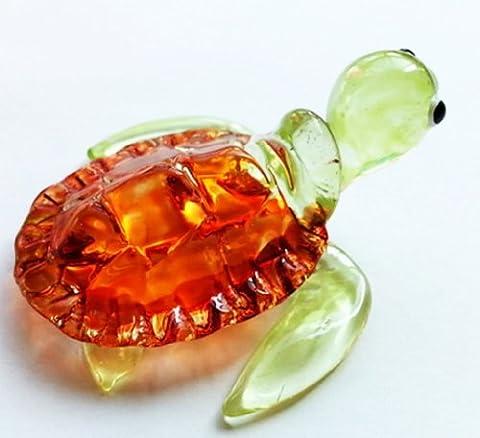 Aquarium MINIATURE main soufflé Art verre brun tortue FIGURINE Collection