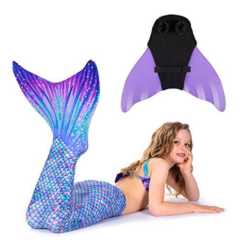 auen Flossen Set zum Schwimmen Kostüm Aurora Borealis mit Monoflosse JS lavender (Aurora Kostüme Erwachsene)