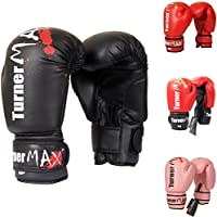TurnerMAX Guantes Boxeo Saco Combate Entrenamiento Sparring Mitones Muay Thai Negro 12oz