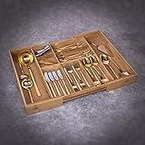 Woodluv - Organizador de cubiertos, ampliable, 5-7 compartimentos, bambú,...
