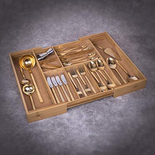 bamb/ú Woodluv para caj/ón de la cocina Organizador de cubiertos 5-7 compartimentos ampliable