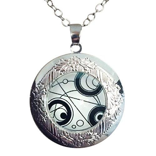 TV Inspired Tardis de Doctor collar Señor del tiempo sello colgante camafeo vintage de cúpula de cristal día de los muertos Unisex Bañado en plata