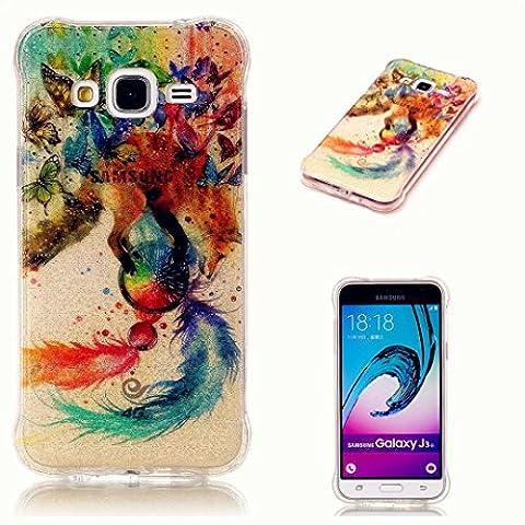 Laixin Samsung Galaxy A7(2017), Etui ultra fin de luxe Bling Paillettes (Brillant Motif Doré) TPU souple 3d Cristal Diamant Pendentif résistant aux chocs de protection avec rayures–Papillon