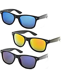 Stacle Retro Square Mirrored Horn Rimmed Unisex Wayfarer Sunglasses 55mm (Single, Combo Pack of 2 and 3)