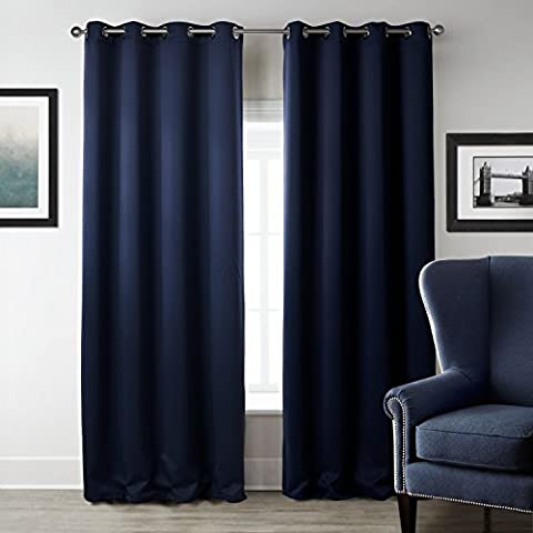 Beddingleer Elegant Pair of Super Soft Solid Thermal Insulated Ready Made Eyelet Blackout Curtains , Grommet Top 130 x 240 cm (52x95inch, Deep Blue)