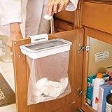 Attach a Trash - cestino supporto per sacchetti spazzatura sospeso dei rifiuti con clip montaggio su qualunque anta, cassetto o porta con larghezza max di 15mm