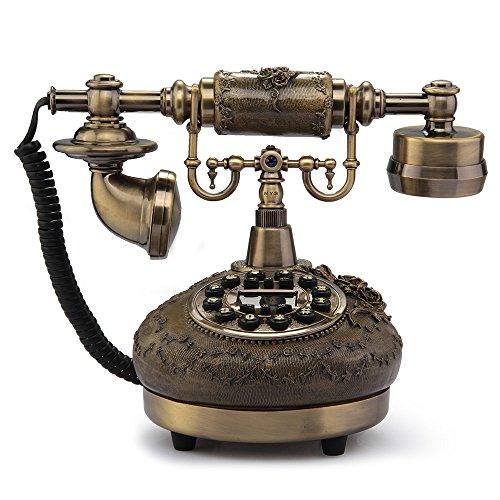 fitTek® FACILLA Teléfono Antiguo Mesa Sobremesa Mano Libre Metal Resina Vintage (Cobr...