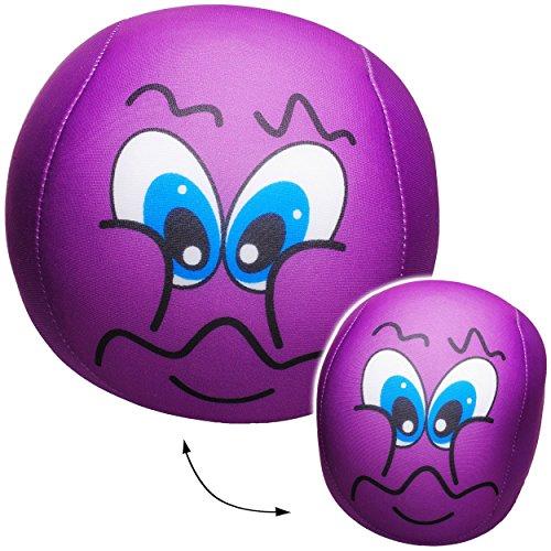 alles-meine.de GmbH 1 Stück _ große Knautschkissen / Stoffball / Knautschball -  lustiges Gesicht - LILA / VIOLETT  - 18 cm - Softball - Emoticon Ball / Zenball - Plüschtier - .. - Stress-bälle Emojis