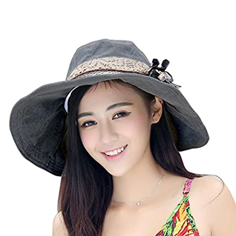 Womens Ladies Summer Hat Cap Floppy Sun Hat Bow-knot Collasped Sunscreen Hat Anti-uv Rays Large Brim Beach Hat for