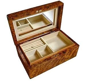 Ladies Handmade Wooden Jewellery Trinket Box with Lock Mirror and Separate Tray Cream Velvet Lined
