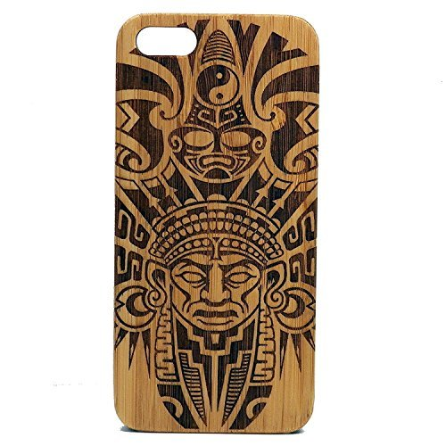 Azteken Muster iPhone 8 Bambus Case/Cover von imakethecase | Tribal Warrior Maske Ritual Maya-Mexiko Columbia Tattoo | Holz Cover -
