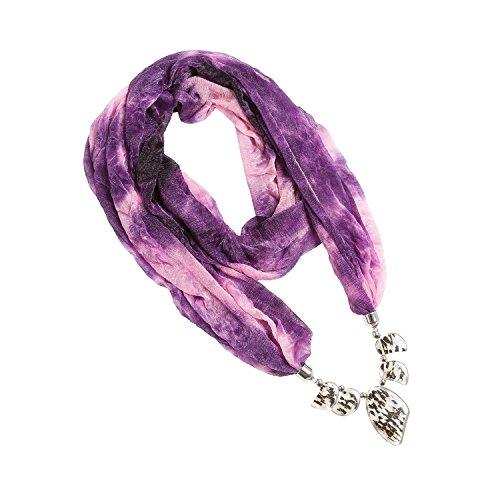lureme® stile bohemien annata piega multi colore leopardato con nappe pendenti in resina sciarpa della collana(01003065-5)(viola Rosa) - Multi Orecchini A Cristallo Di Colore