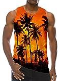 Loveternal Uomo Summer Coconut Tree Gilet Stampato Canottiera Casual Allenamento Maniche Tees M