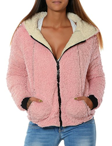 Damen Fleece Kapuzen-Pullover Hoodie Sweatshirt Sweat-Jacke Thermo Gefüttert No 15728 Rosa XL / 42 -