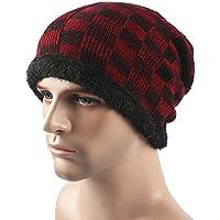 MEICHEN-maschile di lana a scacchi hat outdoor e peluche caldo in autunno e inverno knit (Patterns Knit Bambini Cappelli)