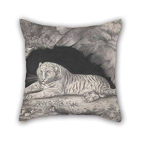 Bestseason 40,6x 40,6cm/40, 40cm de peinture à l'huile Elizabeth Pringle–Un Tigre allongé dans l'entrée d'une Grotte Taies d'oreiller, deux fois plus côtés et Ornement Cadeau pour Noël, en intérieur, Monther, enfants garçons, barre
